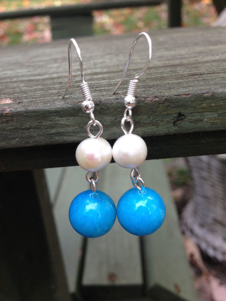 Caribbean inspired earrings made of blue jade and irregular white pearls, guaranteed to put you in a summer mood, no matter what the season.