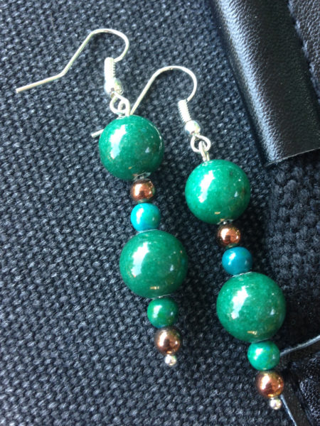 Handmade green jade earrings from Unik Gemz, inspired by one of the most popular Brazilian soap opera, The Clone.
