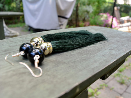 Handmade dark green tassel earrings with black agate stones, from Unik Gemz. Named after the famous Upper Westside Hotel in New York.