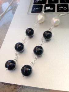 Handmade black and white agate earrings that will never go out of style, fancy and modest at the same time, perfect for going out, working and everyday life