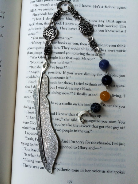 A beautifully handmade bookmark made out of sodalite, yellow jade and jasper, perfect for those of us who still enjoy enjoy reading REAL books.