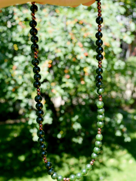 A splendid handmade agate and hematite necklace from Unik Gemz, vibrant in its hues of green and brown, a classic that can be worn all year round.