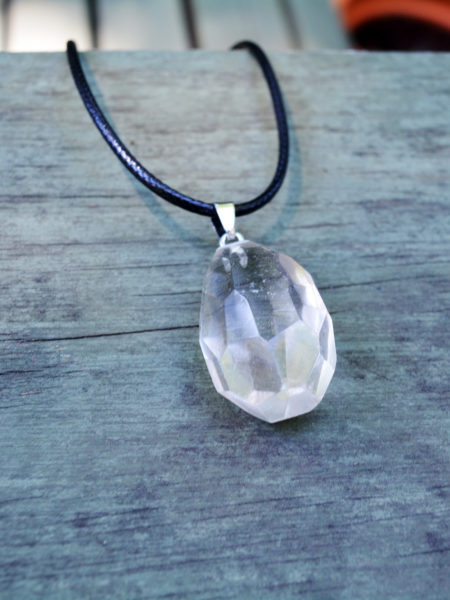 A classy clear quartz pendant. Clear quartz is the stone of truly good people, and it is even rumored to help you remember your dreams!