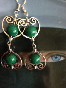 Inspired by the Tales of the Arabian Nights, the Scheherazade Earrings are made of green jade stones and Sterling Silver.