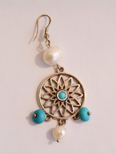 Dreamcatcher earrings made of turquoise stones, irregular white pearls and Sterling Silver hooks. Inspired by Amerindian Legends.